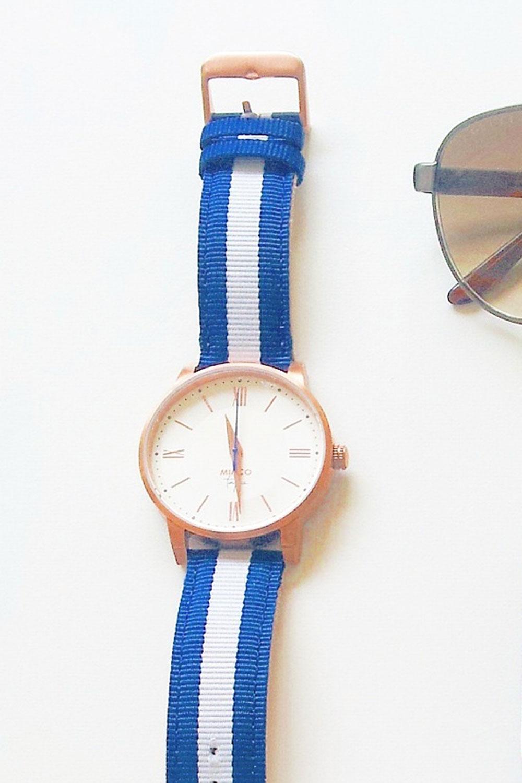 Preppy nautical fashion watch band in blue