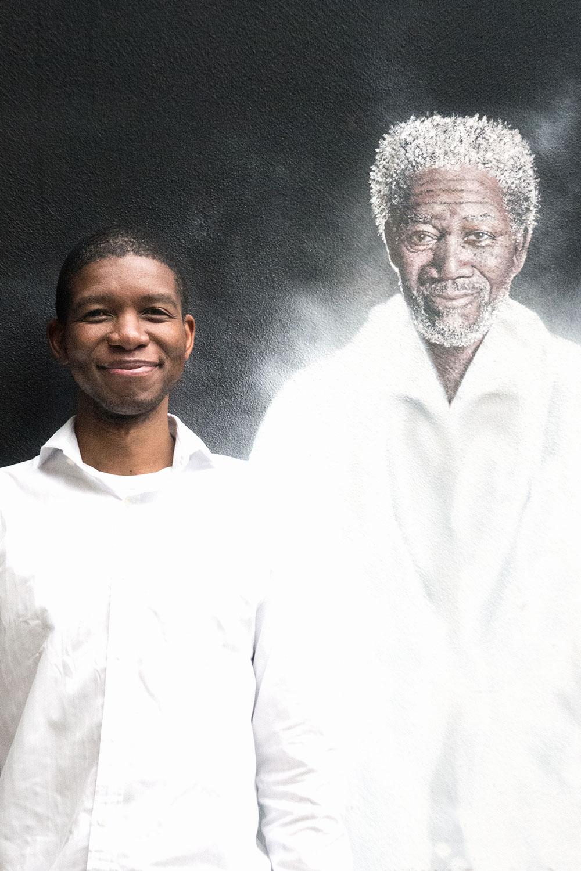 Picture of me and Morgan Freeman mural